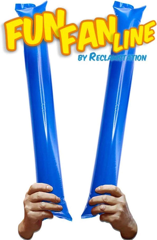 FUN FAN LINE® - Pack 20 Pares de Aplaudidores hinchables ruidosos de plástico. Artículos de Fiesta y animación. Palos cotillón Ideales para fútbol, Fiestas, cumpleaños, comunión. (Blue)