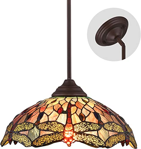 Lucidce Tiffany Dragonfly Style Multicolor Stained Glass Lamp 2 Lights 16 Inches Pendant Lighting Chandelier Hanging Lighting Fixture