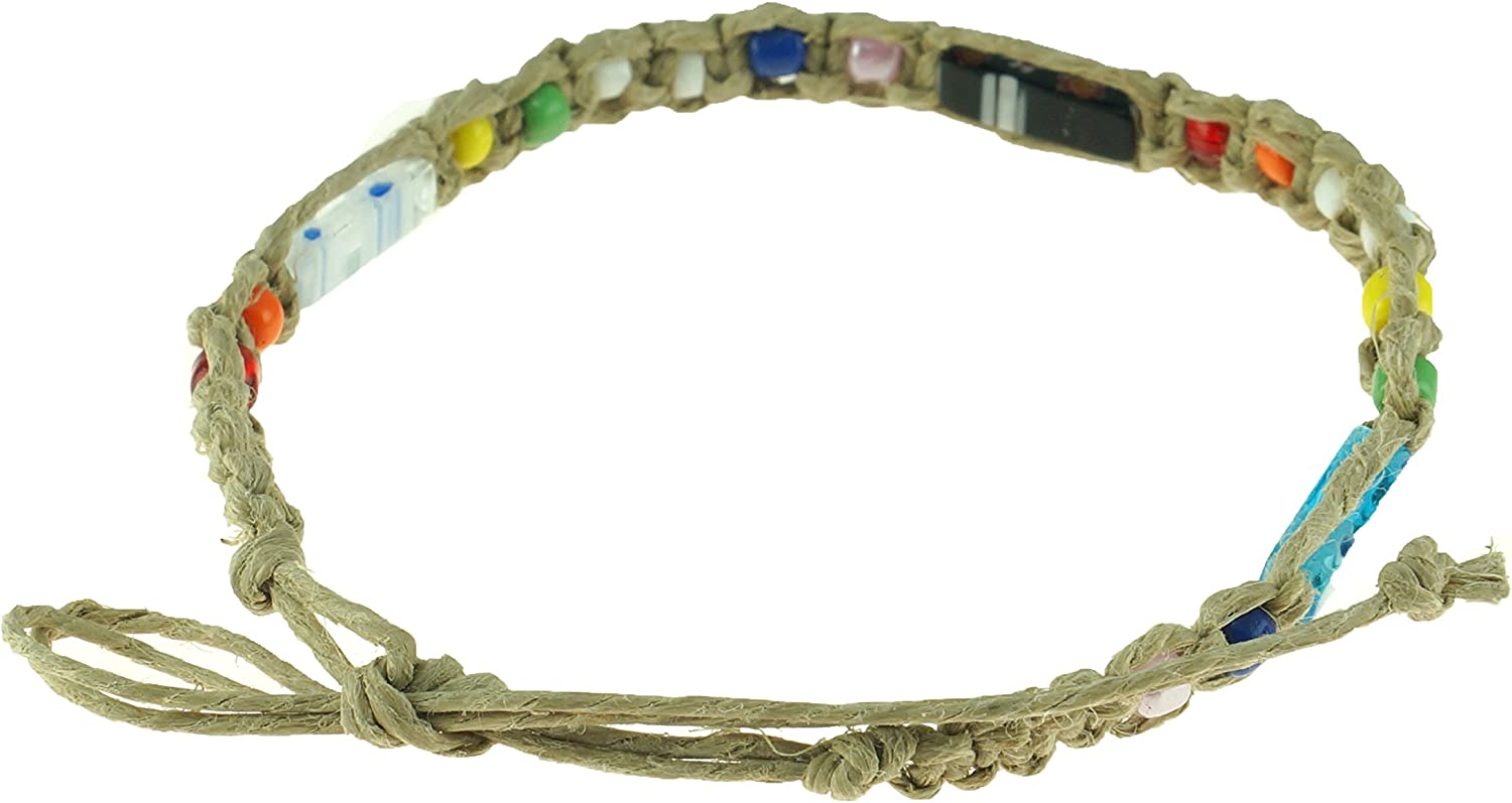 BlueRica Braided Hemp Cord Anklet Bracelet with Multicolored Beads and Murano Glass Tubes
