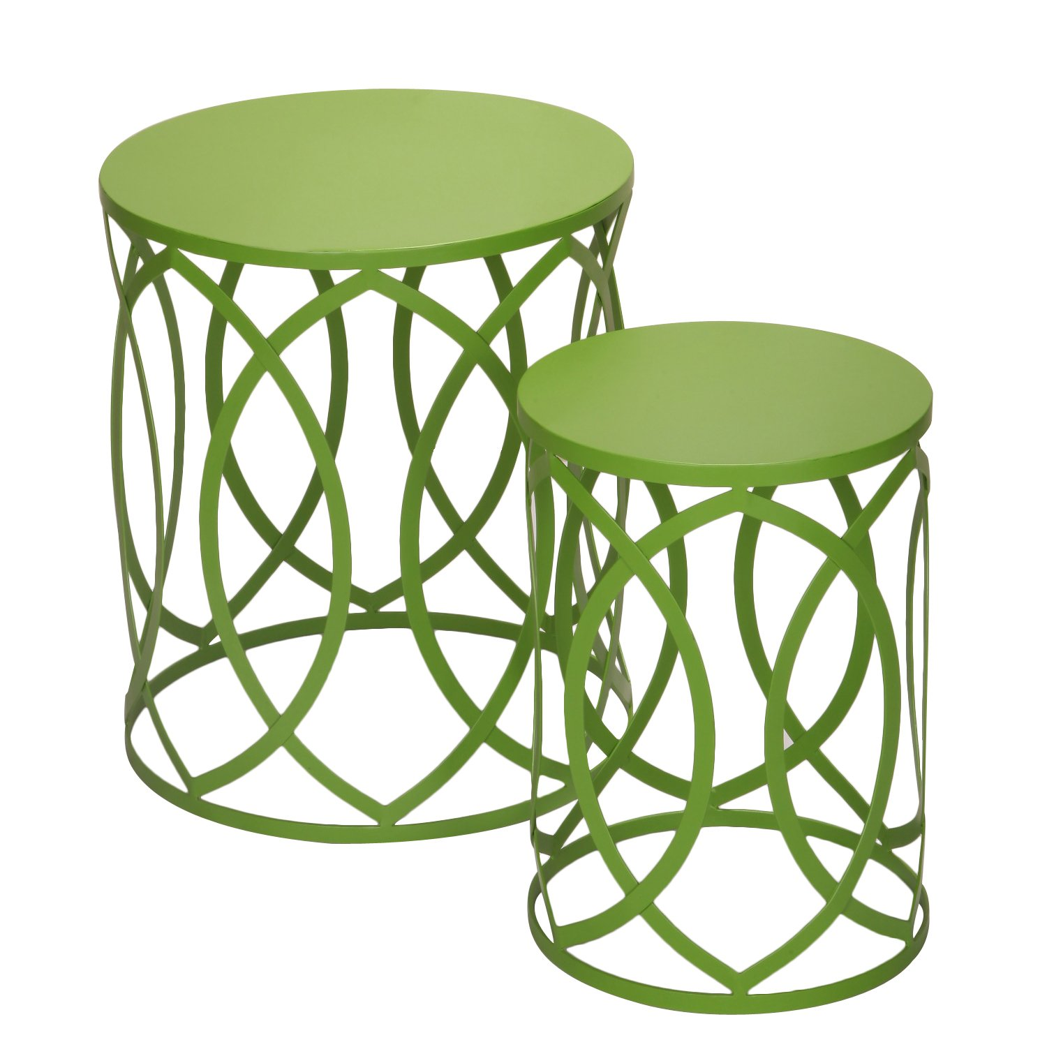 Amazon.com: Accent Round Iron Nesting Tables/Stools, Interlocking Oval  Pattern, Khaki Green (Set Of 2): Kitchen U0026 Dining