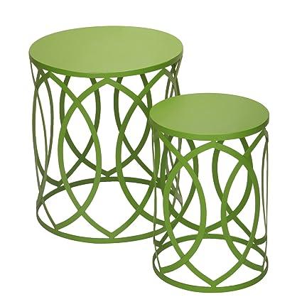 Amazoncom Adeco Accent Round Iron Nesting TablesStools Set Of - Round table and stool set