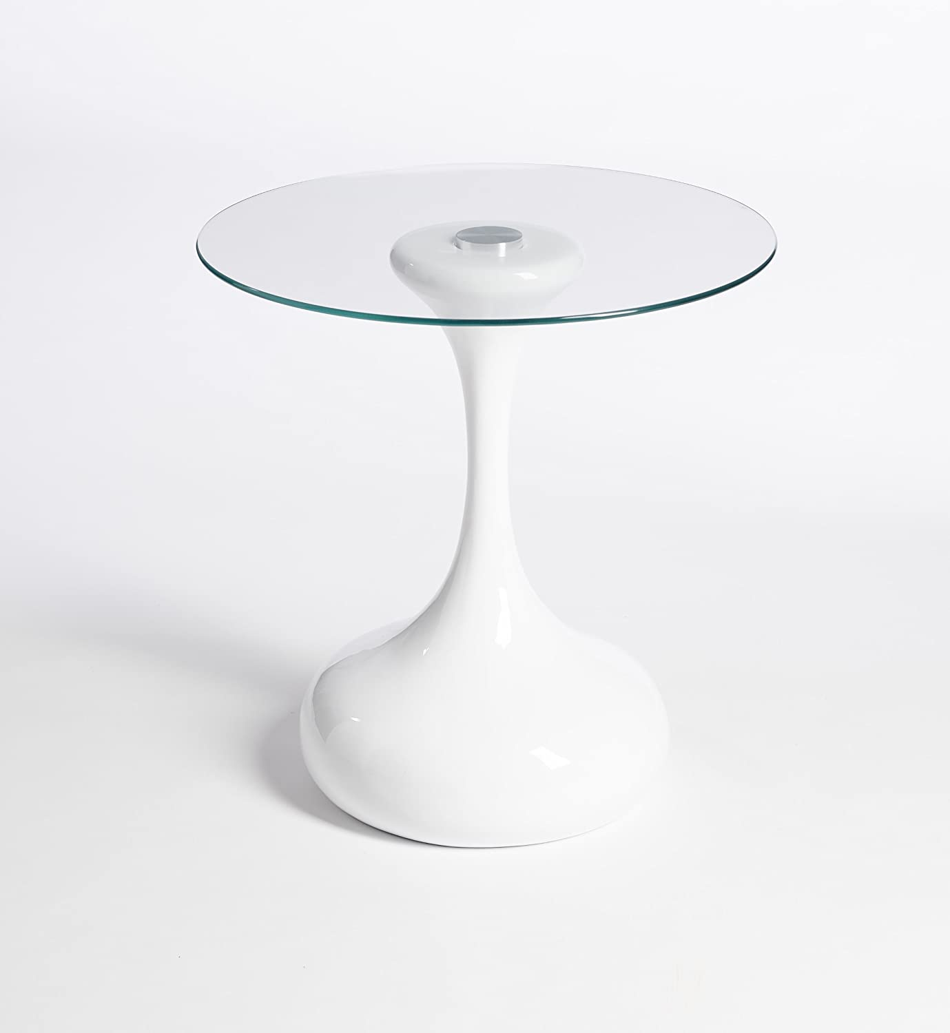Side table end table lamp table round white gloss modern designer hour glass round side table end table lamp table white aloadofball Choice Image