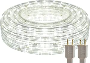 50ft LED Round Rope Lights with Waterproof 540 LEDs Strip Lights 6500K Daylight White with 110V Two UL Certified Power Supply Cuttable Linkable String Lights with Connector and Accessory Pack