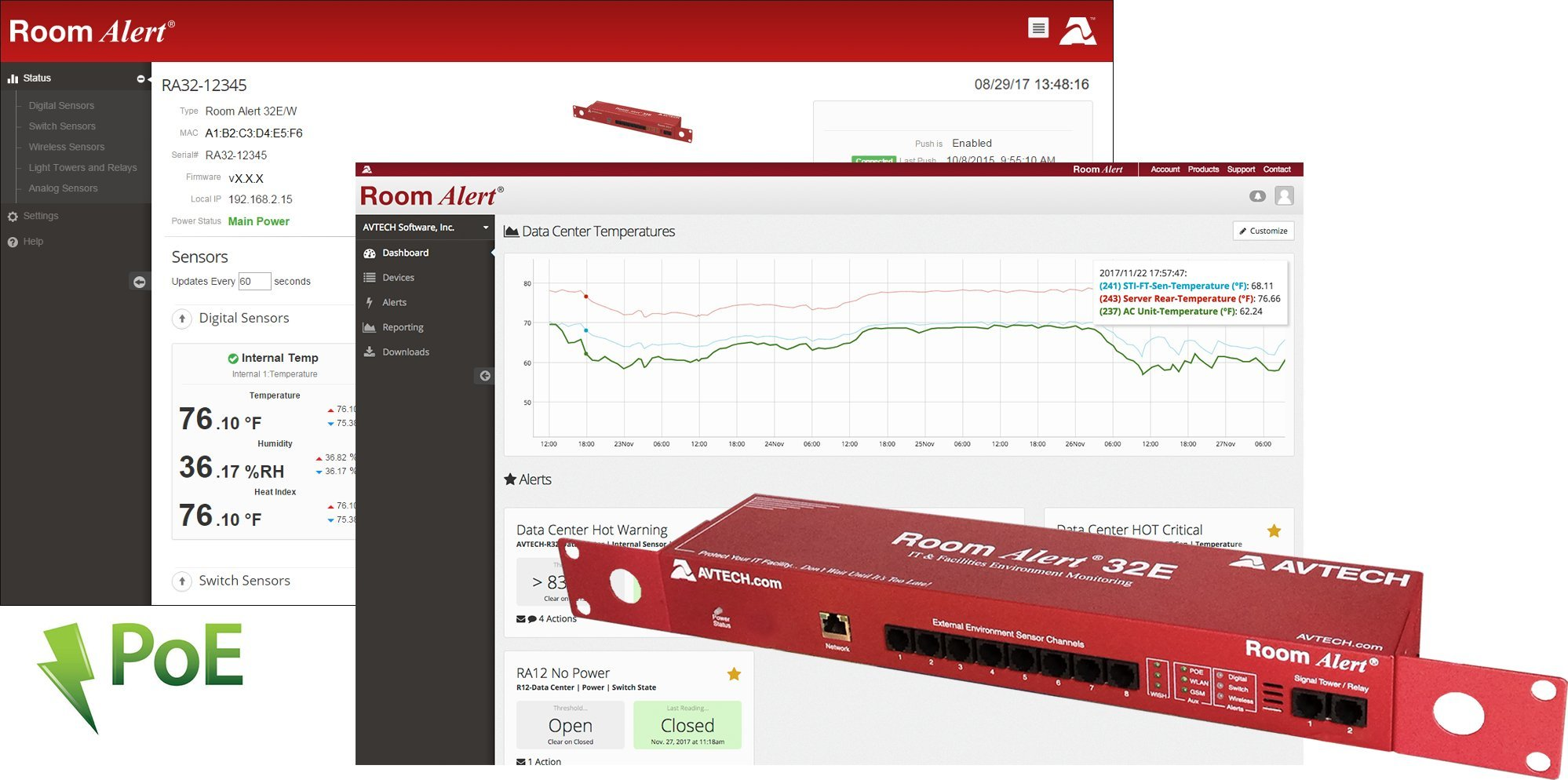 Room Alert 32E - Advanced Temperature and Environment Monitor w/PoE, 8 Digital Ports, 16 Switch Channels, and more