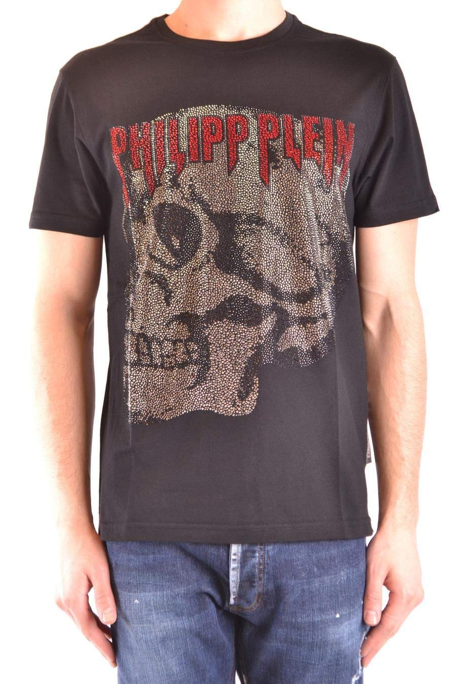 Brand Size S PHILIPP PLEIN Men's MTK3066PJY002N02 Black Cotton TShirt