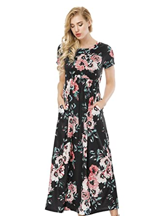 82ce13cceb4 ORICSSON Ladies Long Summer Maxi Casual Dress Floral O Neck Short Sleeve  Beach Party Dresses with Pockets for Women  Amazon.co.uk  Clothing