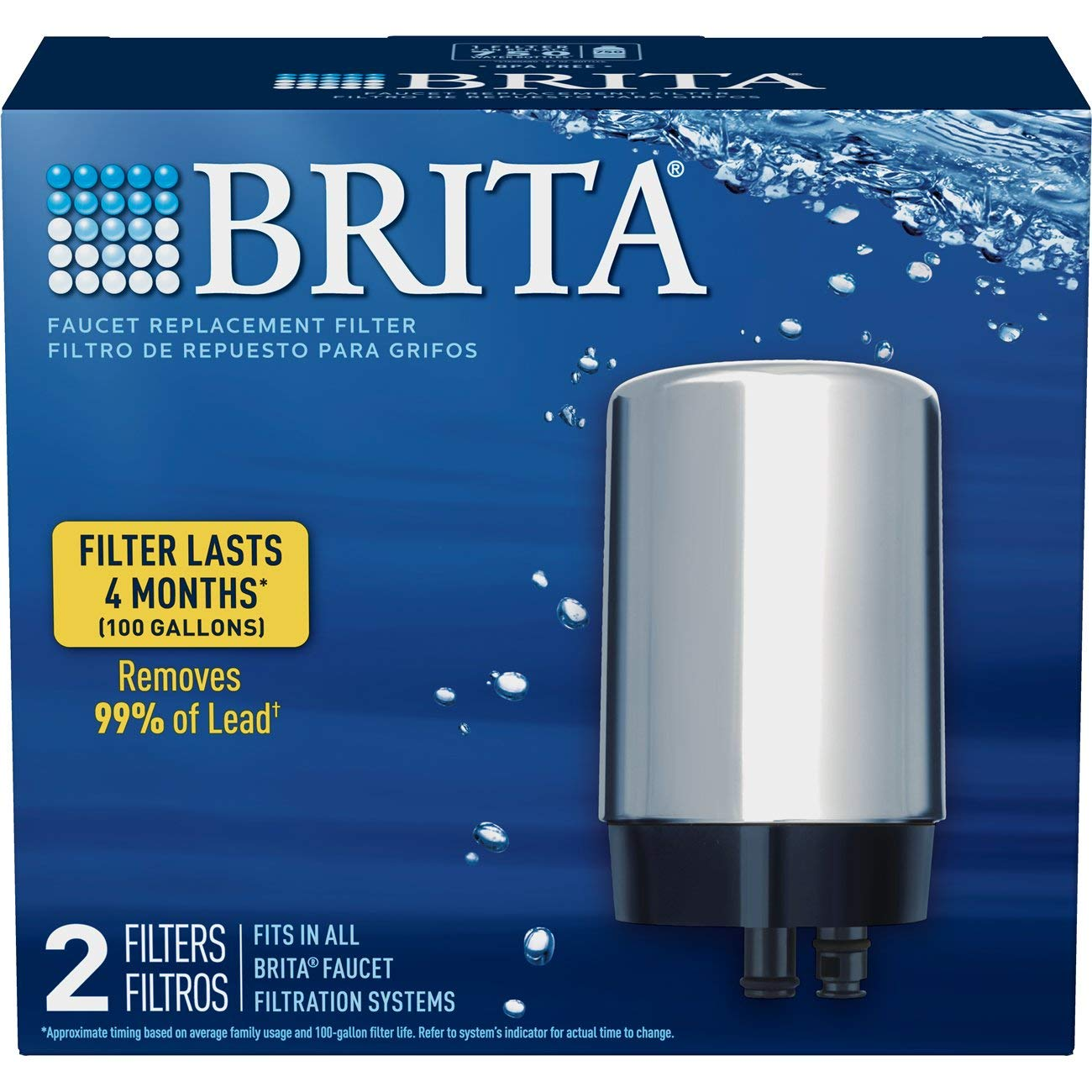 Brita Tap Water Filter, Water Filtration System Replacement Filters For Faucets, Reduces Lead, BPA Free – Chrome, 2 Count by Brita (Image #2)