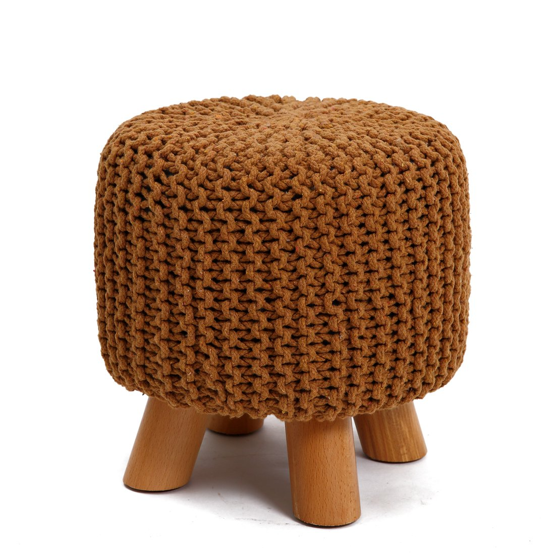 UUSSHOP Wood Support Upholstered Footrest Footstool Ottoman Pouffe Chair Stool Bench with 4 Beech Legs and Removable Handmade Knitted Woven Cotton Cover (Brown)