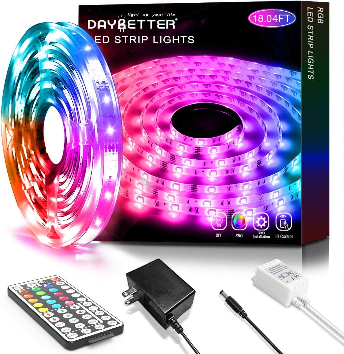 18.04ft Led Strip Lights 5.5m with 44 Keys IR Remote and 12V Power Supply Flexible Color Changing 5050 RGB Led Lights Strip Kit for Home, Bedroom, Kitchen,DIY Decoration