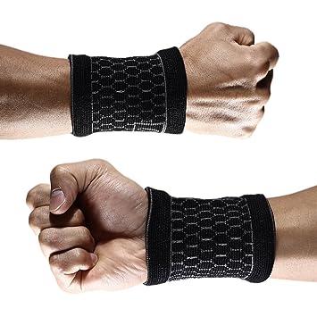 1 par de compresión muñequeras apoyo Brace Sweatband Para Deporte Fitness baloncesto tenis artritis: Amazon.es: Deportes y aire libre