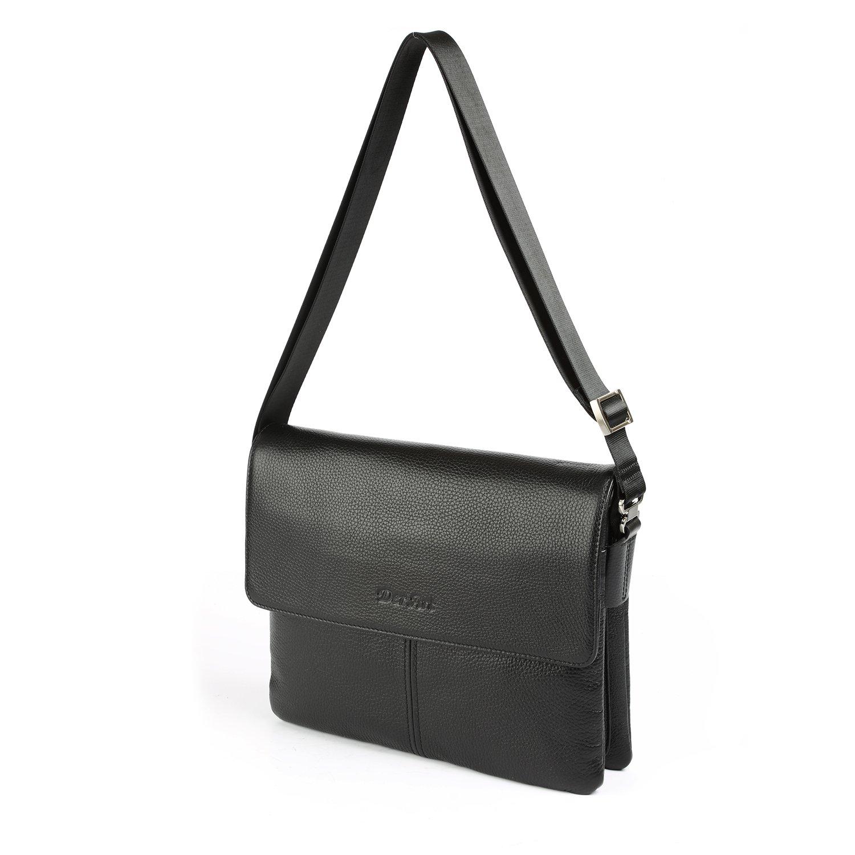 OTTO Genuine Leather Designer Handbags | Unisex Messenger Bag | Classic Shoulder Purse | Travel Carryall - 36.8 cm - 14.5'' (Black)