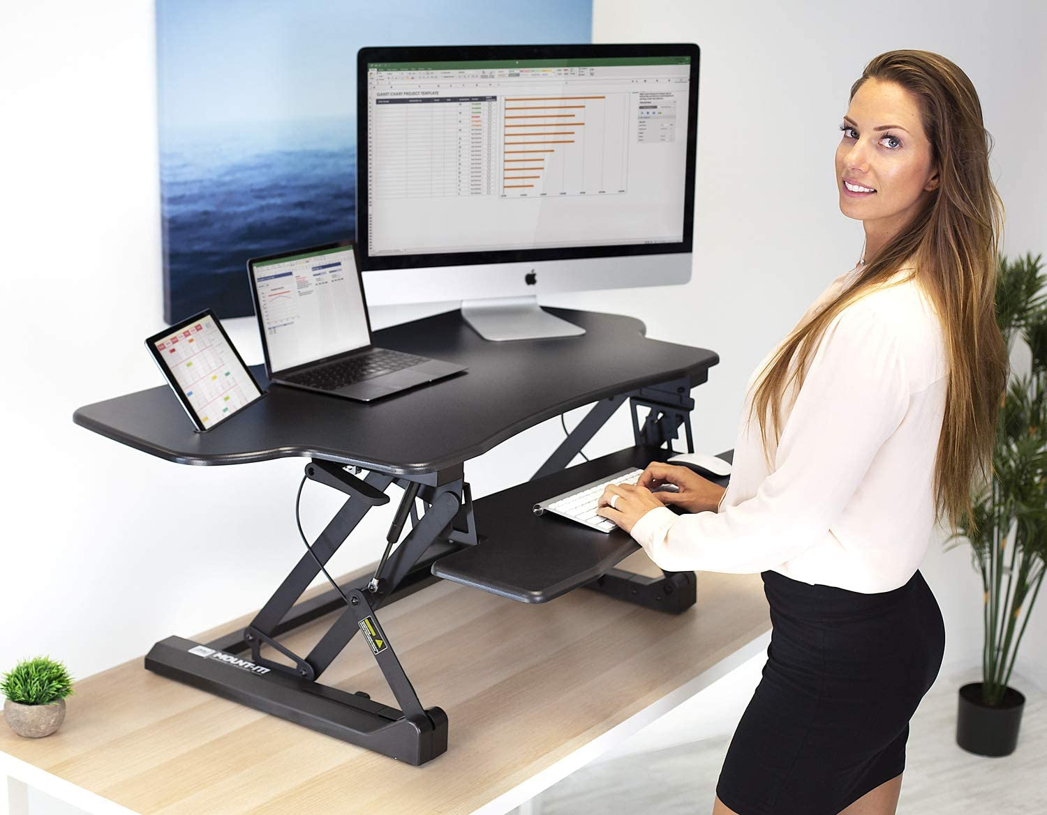 "Amazon.com : Mount-It! Height Adjustable Standing Desk Converter | 48"" Wide  Tabletop Sit Stand Desk Riser with Gas Spring 
