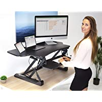 Mount-It! Large Standing Desk, 48 Inch Extra Wide Height Adjustable Sit-Stand Desk Converter for Dual Monitors, Laptop…