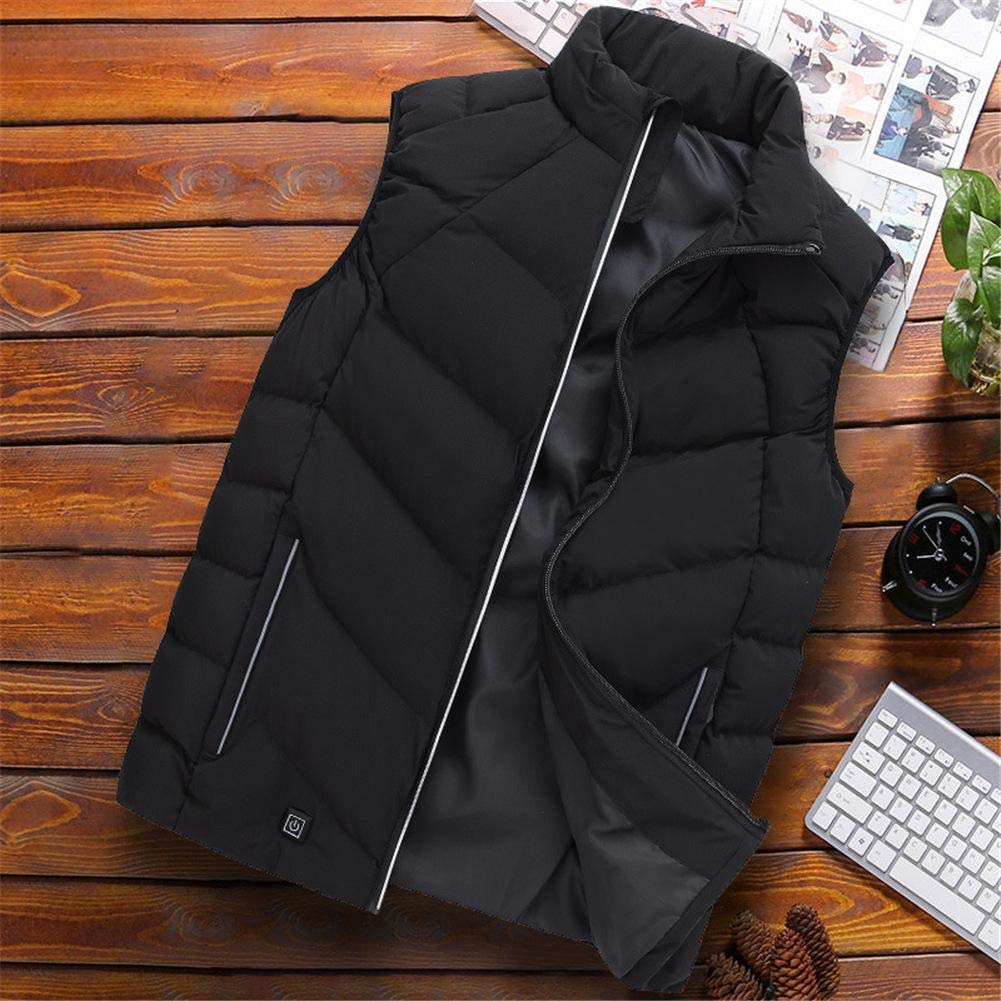 AMAKER USB Rechargeable 3-Speed Temperature Control Heating Vest Heating Intelligent Jacket Electric Heated Vest Adjustable Charging Heated Clothing Coat Body Warmer for Fishing Camping Black