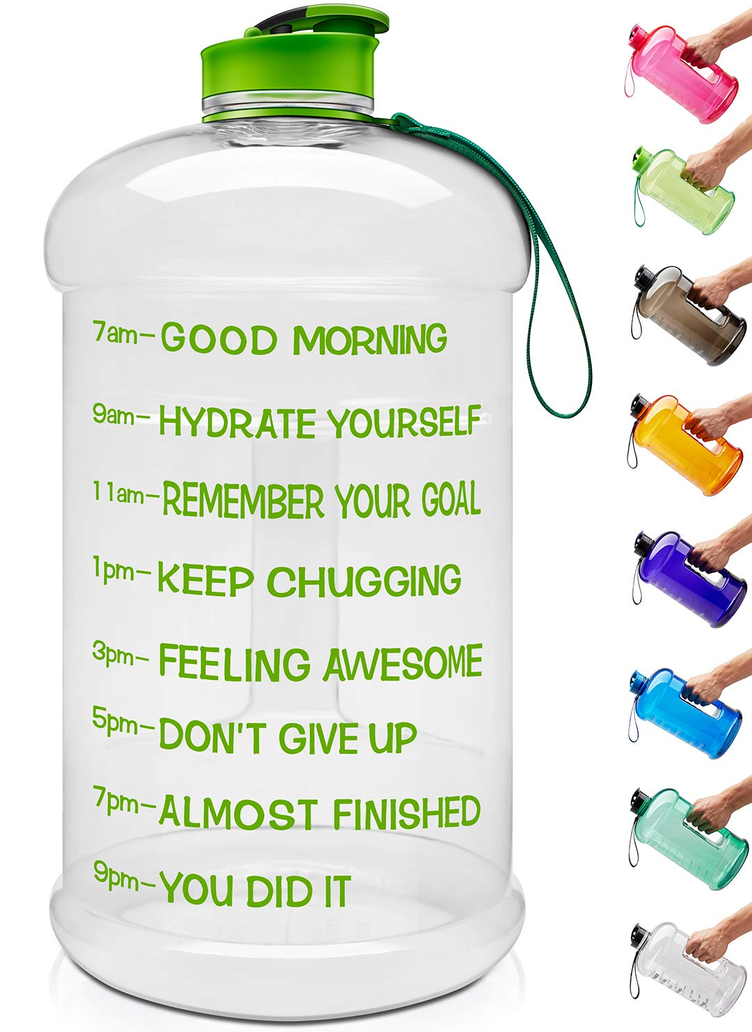 Venture Pal Large 1 Gallon/128 OZ & 74 OZ Motivational Leakproof BPA Free Water Bottle with Time Marker Perfect for Fitness Gym Camping Outdoor Sports-1Gallon-Transparent-Green