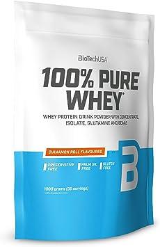BioTechUSA 100% Pure Whey Complejo de proteína de suero, con aminoácidos añadidos y edulcorantes, sin conservantes, 1 kg, Roscas de canela