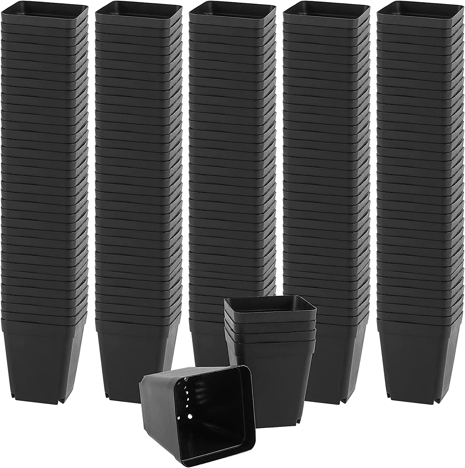 HAKZEON 120 PCS 2.7 Inches Plastic Square Nursery Pot with Drainage Holes, Black Small Plant Flower Starting Pots, Durable Garden Greenhouse Nursery Pots for Transplanting Seedlings