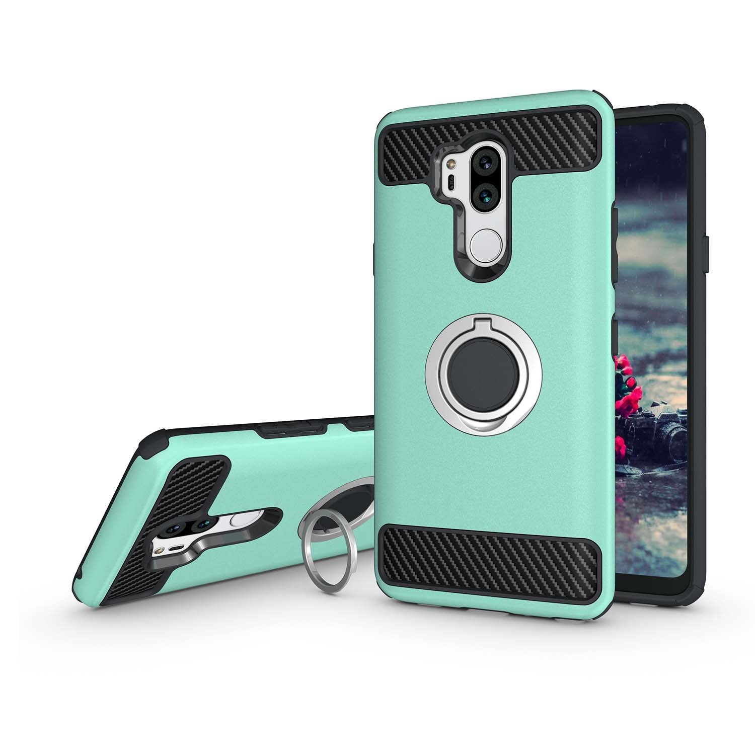 Newseego Compatible with LG G7 ThinQ Case,LG G7 Case with Armor Dual Layer 2 in 1 with Extreme Heavy Duty Protection and Finger Ring Holder Kickstand Fit Magnetic Car Mount for LG G7 ThinQ -Green