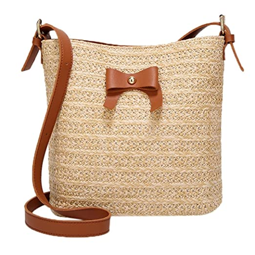 329243c355 Women Casual Shoulder Bag Bow Straw Bags Bucket Bag Handbag Crossbody Bag  Beach Travel Vacation Bag