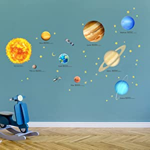 DECOWALL DA-2007 Solar System Kids Wall Stickers Wall Decals Peel and Stick Removable Wall Stickers for Kids Nursery Bedroom Living Room décor