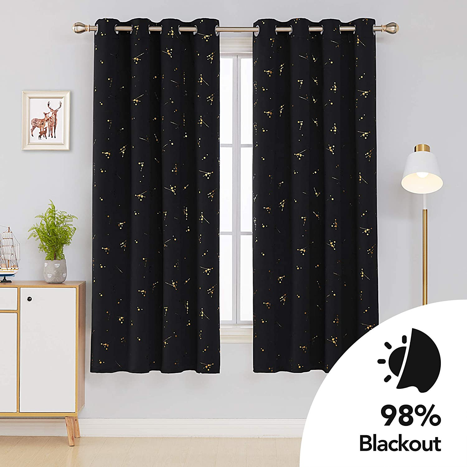 Deconovo Pink Curtains Gold Printed Constellation Thermal Insulated Curtains Eyelet Blackout Curtains for Girls Bedroom Two Matching Tie Backs Pink W46 x L54 One Pair