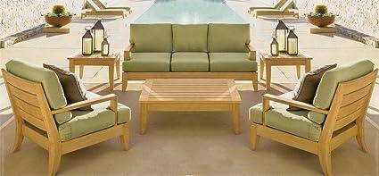 Stupendous Amazon Com Wholesaleteak Atnas Luxurious 6 Piece Teak Sofa Uwap Interior Chair Design Uwaporg