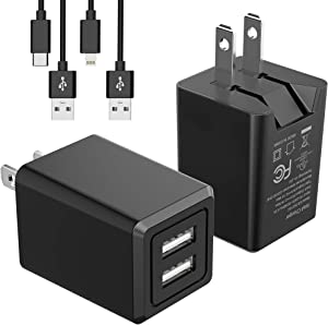UL Listed USB Wall Charger, SUPERDANNY Dual Port Charger Block 2 Pack with 3.28ft Lightning Cable & Type-C Cable, Black Charger Adapter with Foldable Plug for iPhone 11/XS Max/XR/X/iPad/Samsung S10