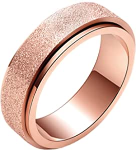 6mm Unisex's Stainless Steel Rainbow Frosted Spinner Ring for Anxiety