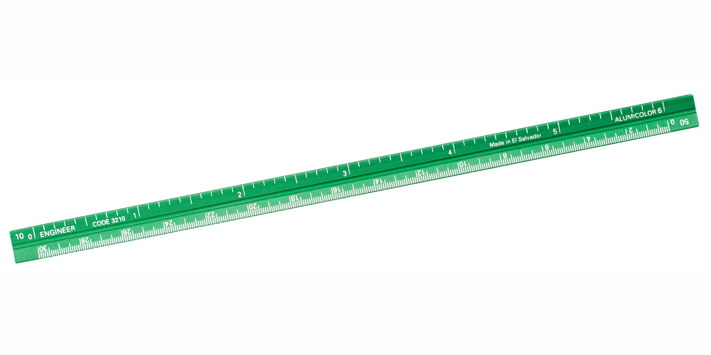 Alumicolor Pocket-Size Engineer Scale, Aluminum, 6 inches, Green (3210-6)