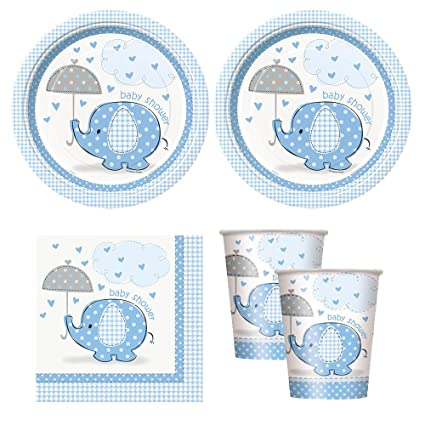 Amazon Blue Umbrellaphants Boy Baby Shower Babyshower Party