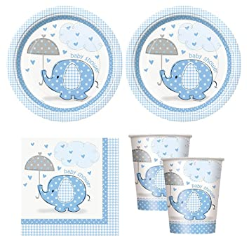 Blue Umbrellaphants Boy Baby Shower Babyshower Party Supplies   Plates,  Napkins, ...