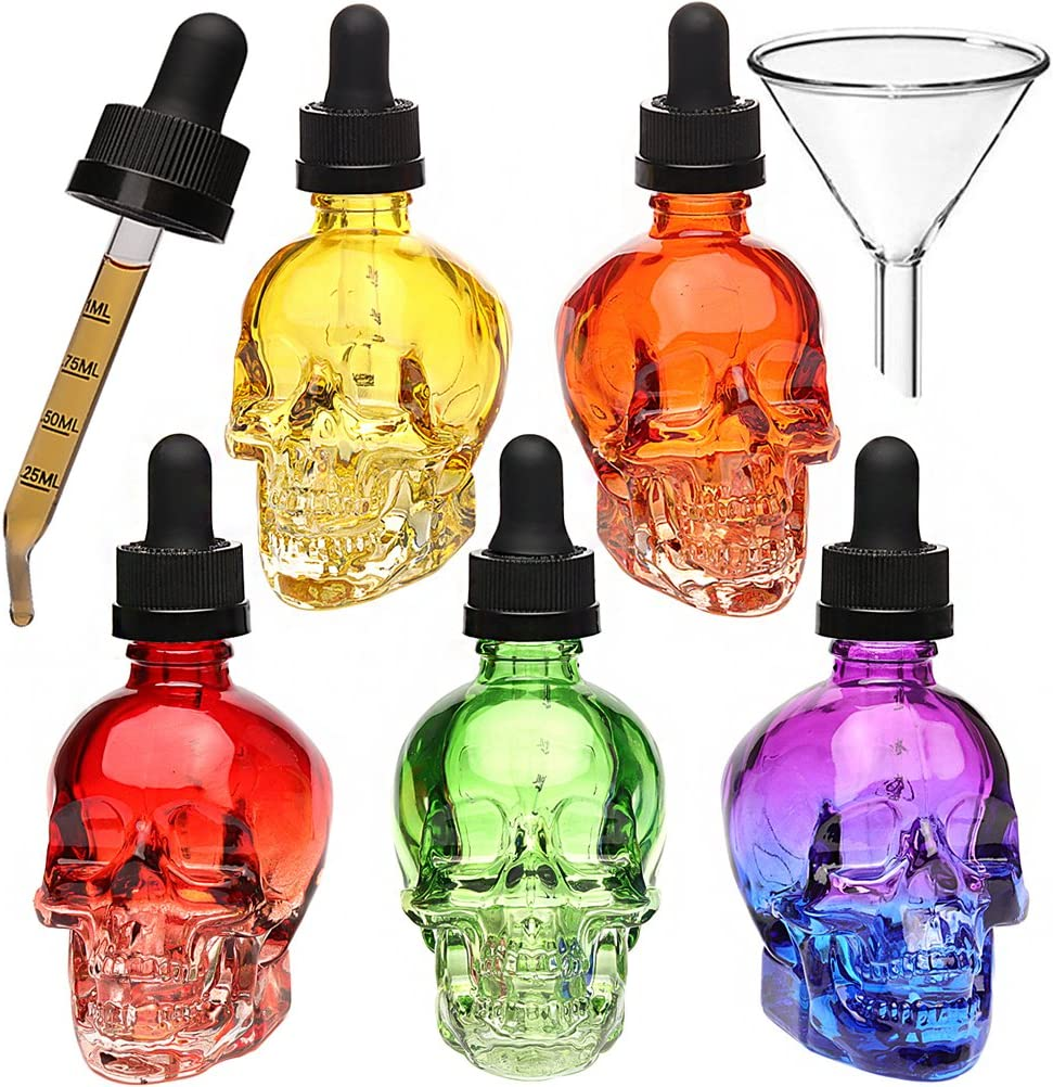 3PCS 2oz Skull e-liquid bottle with strong suction nozzle and dropper with measure scale perfume bottle glass perfume bottle (3, 60ml)