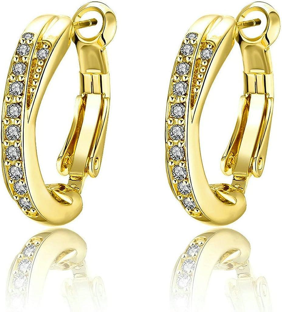 Daesar Mujer Hoop Pendientes Oro Rosa 18K Chapado en Oro Pendientes Arco Cubic Zirconia Aretes - Halo Pendientes 2.7cm