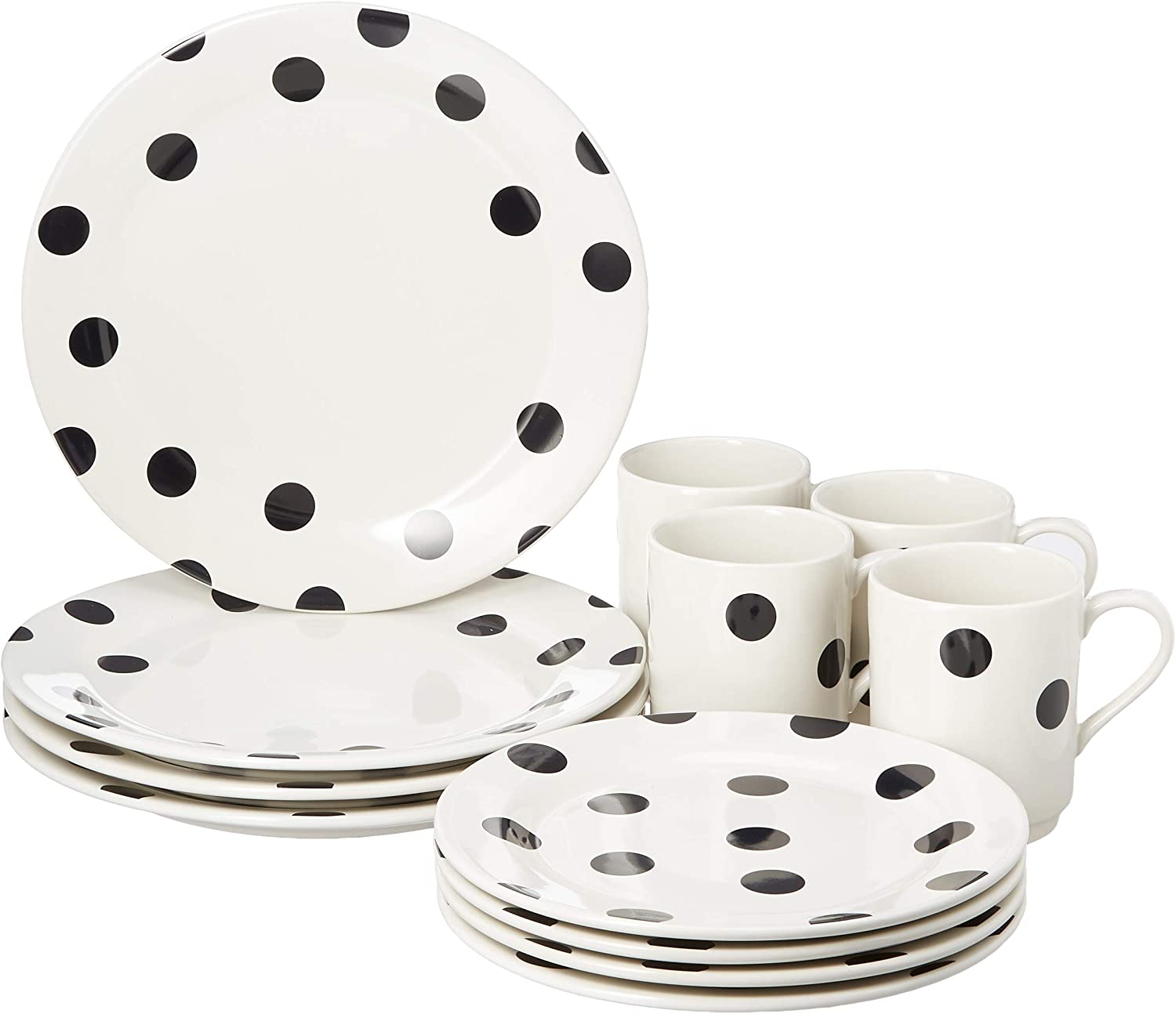 KATE SPADE Deco Dot 12-Piece Dinnerware Set, 18.3 LB, White