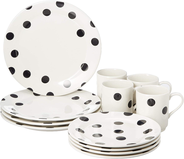 KATE SPADE Deco Dot 12-Piece Dinnerware Set, 18.3 LB, White