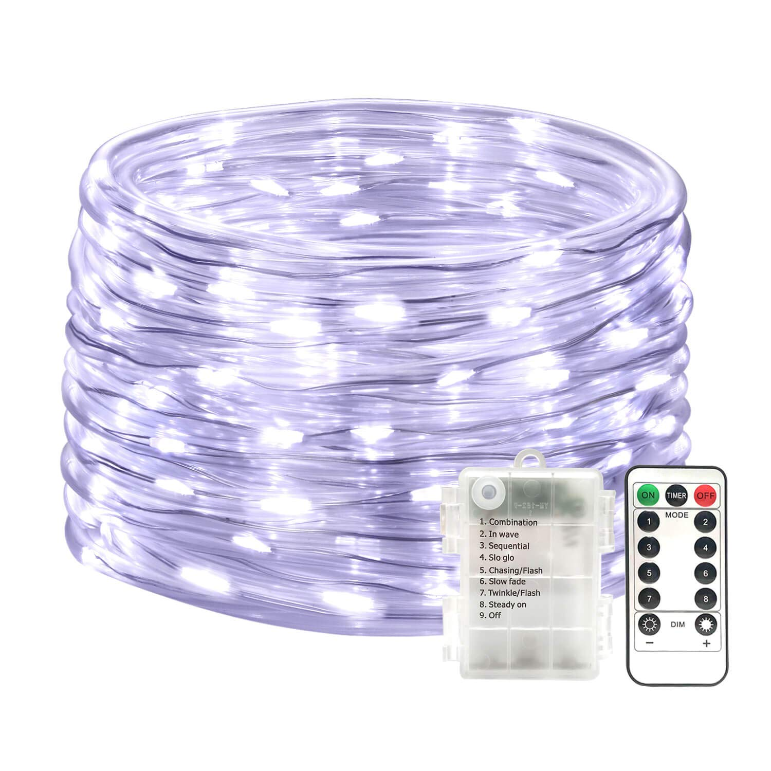 SEMILITS Outdoor String Lights 100LED 33Ft Battery Operated LED Rope Lights with Remote Indoor Timer Fairy Lights for Patio Easter Christmas Party White