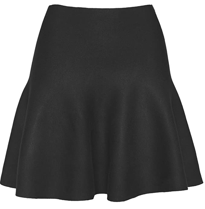 1ef6505751 KMystic Womens Basic Wnter Knit Stretchy Flared Skater Skirt (Black ...