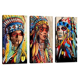 "Indian Girl Chief Native American Canvas Wall Art Feathered Women Prints Gifts Home Decor Decals for Bedroom Waterproof Posters Pictures Paintings Framed Ready to Hang  (10""x24""x3pcs, Indian 2)"