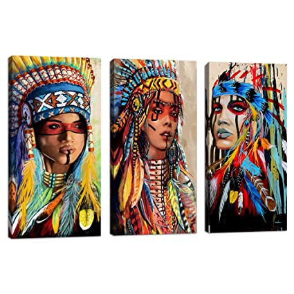 Indian Girl Chief Native American Canvas Wall Art Feathered Women Prints Gifts Home Decor Decals For Bedroom Waterproof Posters Pictures Paintings