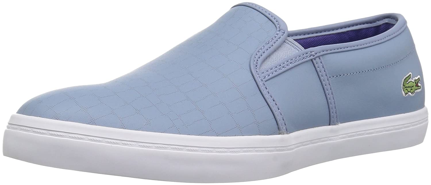 Lacoste Women's Gazon Slip-ONS B071GQ3XCL 9.5 B(M) US|Light Blu/Dark Purp Leather