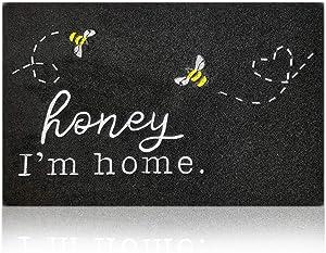 Door Mat Outdoor Indoor with Honey I'm Home Bee Rustic Farmhouse Funny Rugs,Waterproof Non Slip Durable Rubber Doormat for Porch Patio Entry Garage Kitchen,Black Door Mat