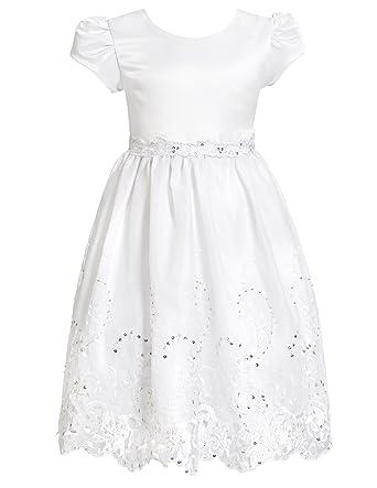 Amazon.com: Alexandra Girls Communion Flower Girl Dress White Size ...