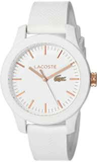 Lacoste Womens Ladies 12.12 Stainless Steel Quartz Watch with Silicone Strap, White, 17 (