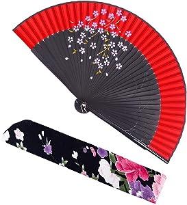 meifan Chinese/Japanese Long Bamboo Leg Silk Folding Fans FMM (Red)