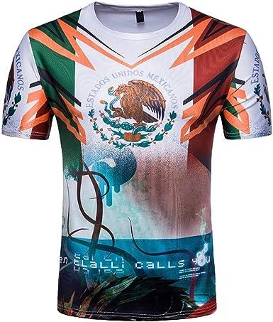 WINWINTOM Verano Casual Camisas De Hombre, Moda Ajustado Camisetas, Hombre 3D Camiseta Fútbol Impresión Manga Corta Verano Tops Blusa por Copa del Mundo (Patrón I): Amazon.es: Ropa y accesorios
