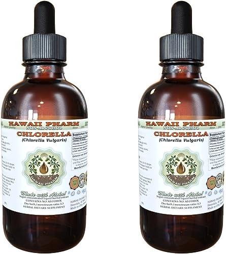 Chlorella Alcohol-Free Liquid Extract, Chlorella Chlorella vulgaris Entire Plant, Dried Glycerite Hawaii Pharm Natural Herbal Supplement 2x2 oz