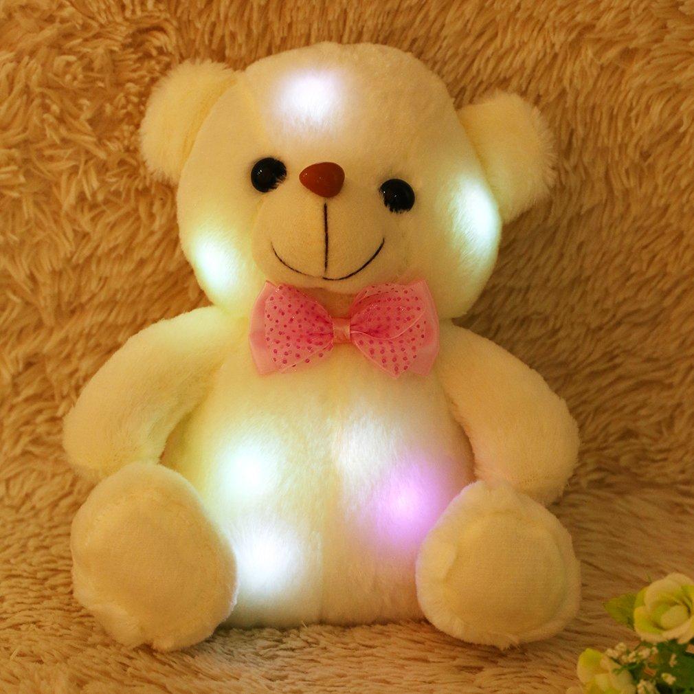 FairytaleMM Super Nette 20cm Reizende weiche LED bunter glühender Minid Teddybär-Plüsch-Spielzeug füllte Plüsch-Spielzeug-Geschenke für Geburtstag, weiß an