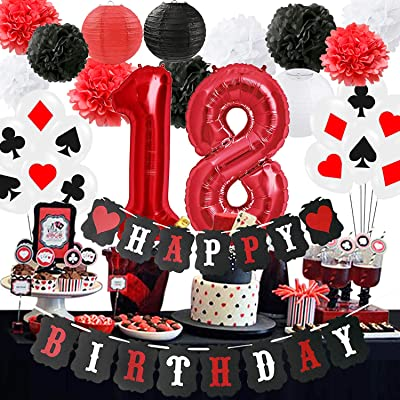 Poker 18th Birthday Party Decorations/Poker Theme Party Supplies Casino 18th Birthday Party Decoration Supplies Casino Theme Party,Las Vegas Themed Parties,Casino Night,Casino Birthday Décor: Health & Personal Care