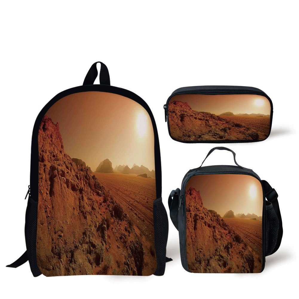 School Lunch Pen Bags,Galaxy,Landscape from the Movie Fantastic Fictional Galaxy War Pattern Sunset Mountains,Brown Yellow,Personalized Print