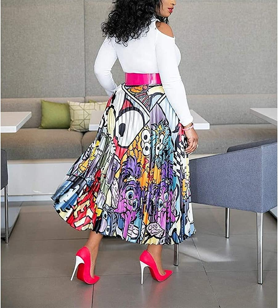 Medium AIBBMIN Falda Plisada con Estampado de Dibujos Animados Mujer